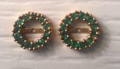 Emerald round and faceted earring jackets 14 K gold / chaquetas de esmeraldas redondas faceteadas en oro de 14k.