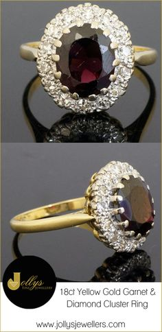 We have a gorgeous 18ct Yellow Gold Garnet & Diamond Cluster Ring, perfect for the new year