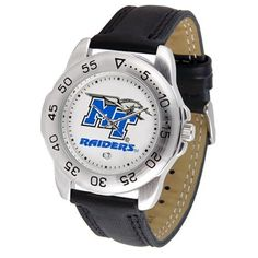"""Middle Tennessee State Blue Raiders NCAA """"Sport"""" Mens Watch (Leather Band) by SunTime. $42.30. Rotation Bezel/Timer. Scratch Resistant Face. Calendar Date Function. This handsome, eye-catching watch comes with a genuine leather strap. A date calendar function plus a rotating bezel/timer circles the scratch-resistant crystal. Sport the bold, colorful, high quality logo with pride."""