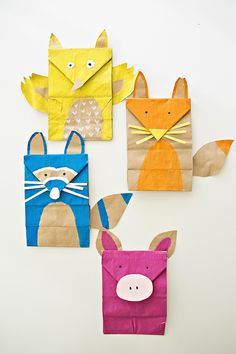 Adorable Paper Bag Woodland Animal Craft featured in one of my favorite new craft books, L'Atelier Recup, by  Marie-Laure Pham Bouwens and Steffie Brocoli. // Article via hello, Wonderful