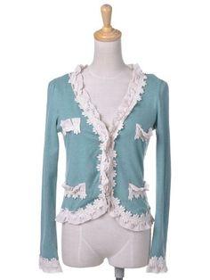 Anna-Kaci S/M Fit Green Daisy Chain White Ruffle Hook Front Cardigan Sweater Anna-Kaci. $24.90