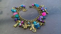 Fey fantasy woodland bronze charm bracelet, Pagan, Witch, Wicca, Fairy