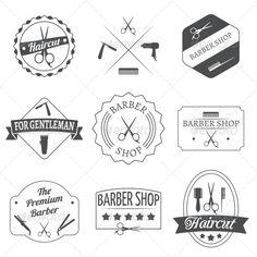 Hairdresser Label Set #graphicriver