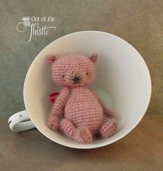 Miniature Crochet Rose Teddy Bear Doll by Fiber Artist | eBay