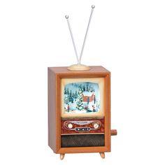 Retro LED TV with Winter Scene