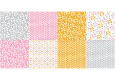 Orange Flora Pattern Vector Set