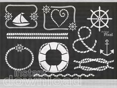 nautical chalkboard clip art, white chalk, nautical clipart set of 12, PNG, digital, scrapbooking, instant download, small commercial use,