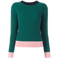 Chinti And Parker ribbed colour block jumper ($359) ❤ liked on Polyvore featuring tops, sweaters, green, blue jumper, blue sweater, color-block sweater, green top and colorblock top