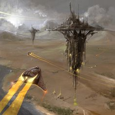 Some concept spaceship art by Radoslav Walachnia. You can see more concept art from this artist RIGHT HERE! Fantasy City, Sci Fi Fantasy, Fantasy World, Concept Ships, Concept Art, Sience Fiction, Sci Fi City, Sci Fi Environment, Spaceship Art