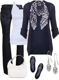 Great Navy Blue Outfit. Chevron scarf, blue cardigan, white tank, & jeans. Everyone has parts of this outfit already. Paired with ballet flats and a white purse.