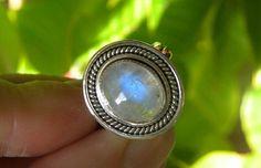 Moonstone Ring Handmade Ring Rainbow Moonstone 12x10mm Blue