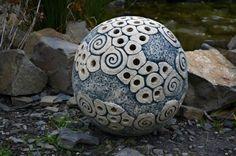 Keramická koule - modrá velká dekorace koule lampa zahrada spirála kulička do zahrady