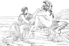 Teti e Achille (Hom.Il.1.360). Bonaventura Genelli (1798 – 1868).