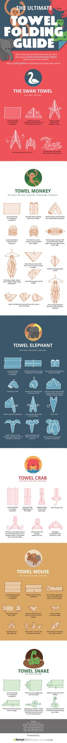 The ultimate towel folding guide - our next company is going to be so excited! ;D