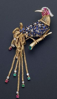 Marchak  - Broche 'Oiseau de Paradis' - Or,  Saphirs, Rubis, Diamants et Emeraudes - Vers 1960