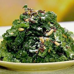 The Chew- Daphne Oz's King of Greens Kale Salad. Never thought about massaging the kale. Will try with toasted walnuts and craisins instead. The Chew Recipes, Great Recipes, Healthy Recipes, Kale Recipes, Healthy Foods, Daphne Oz, Green Salad Recipes, Healthy Eating, Clean Eating
