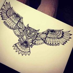 owl with open wings tattoo - Google Search