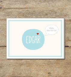 Baby- & Geburtskarten - Geburtskarte   Edgar - ein Designerstück von DaisyDesignStudio bei DaWanda