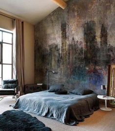 interior design, design homes, bedroom decor, dream, bedroom design, stone walls, high ceilings, hous, exposed brick