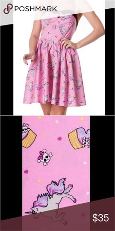 HellBunny Alaska Unicorn Print Dress So so cute! Only worn one time. Only dry cleaned. HellBunny Dresses Mini