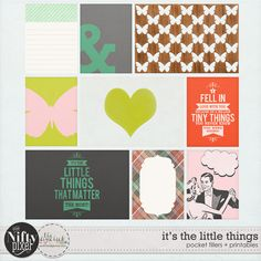 IT'S THE LITTLE THINGS | Pocket Fillers & Printables These fun & bold pocket fillers are perfect for adding an extra splash of colourful love. Because the designs are quite modern they are a great way to add some graphic flair to your digital scrapbook pages or pocket style projects.  DOWNLOAD INCLUDES:  9X Unique Designs (3X4 + 4X6 formats) Printable Sheets. All products are saved at 300ppi for optimum printing quality.