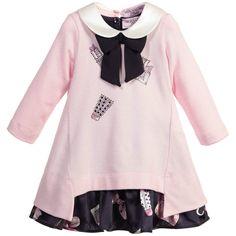 Baby Girls Pink & Navy Blue 2 Piece Dress, Monnalisa, Girl