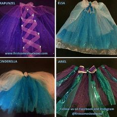 Disney Princess inspired TUTUS ! Newborn-adult Have your little princess stand out from the other disney dresses! Available: Elsa Anna Olaf Merida (brave) Ariel Rapunzel (tangled) Snow White Belle Cinderella Tinkerbell Tiana Princess Sophia More upon request ! We also make custom bridal garters , sashes , headpieces and personalized wedding hangers as well as monogrammed gifts ! Firstcomeslovexoxo.com like our Facebook page for 10% off ! Facebook.com/firstcomeslove...