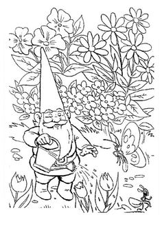 david the gnome david the gnome watering his garden coloring pages