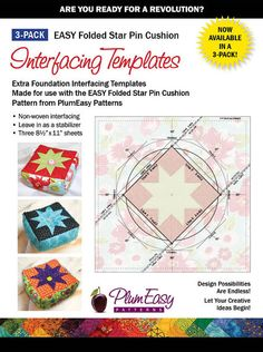 Folded Star Pin Cushion Template 3-pack