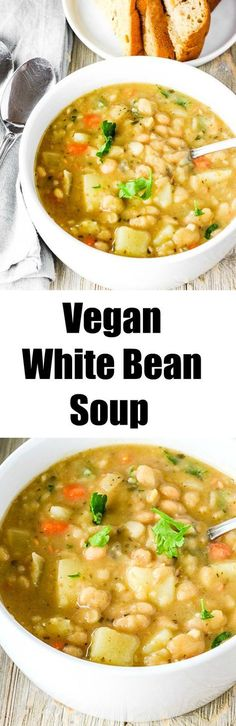 Vegan White Bean Soup Easy to prepare and flavorful #vegan #glutenfree #beanrecipes