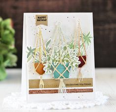The Greetery - Katie's Cuties: Feelin' Fan-Sea, Sea Scene Die, Pot-Pourri, & Marca-Made For You Card Making Inspiration, Making Ideas, How To Make Decorations, Wedding Decorations, Bloom Where Youre Planted, Embossed Paper, Marianne Design, Tampons, Hanging Planters