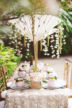 French Garden Bridal Shower Ideas by Southern Grace Events and Gathering + captured by J. Layne Photography - via ruffled Garden Wedding, Wedding Table, Dream Wedding, French Bridal Showers, Decoration Evenementielle, Tea Party Bridal Shower, Bridal Shower Chair, Bridal Luncheon, Deco Rose