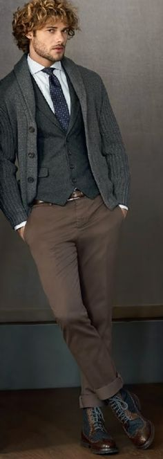 Grey Cashmere Cardigan, by Brunello Cucinelli. Men's Fall Winter Fashion.