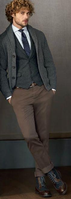 Grey Cashmere Cardigan, by Brunello Cucinelli. Men's Fall Winter Fashion.