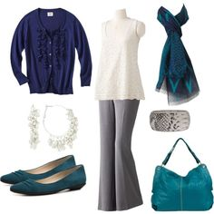 """""""Sapphire & Teal Casual Work Outfit"""" by dreamtree on Polyvore"""