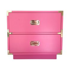 Dixie Vintage Campaign Nightstand in True Pink | Chairish