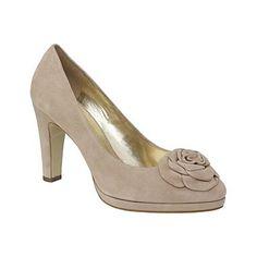 Beige flower platform court shoes