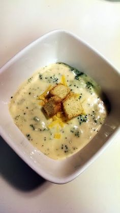 """Broccoli Cheddar Soup! 4.73 stars, 451 reviews. """"This is a good recipe. I like to add about a half cup of velveeta (cubed: I like it cheesy), a little garlic powder, and garnish with zesty Italian croutons. Yummy!"""" @allthecooks #recipe #soup #broccoli #hot #easy #quick"""
