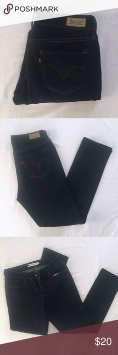 """Levi's Dark Blue Mid Rise Skinny Jeans EUC Mid Rise Skinny jeans, these are a very dark blue, even thought they look black in the photos. Size 12. Quite a bit of stretch to them. Approximate flat measurements: waist (unstretched)- 15.5"""", length- 41.5, rise- 10.5"""", inseam- 31"""", cuff- 7"""". Compare measurements to your favorite pair of jeans! 💖 Levi's Jeans Skinny"""