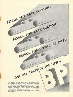 """""""Get all three in the new BP"""" - BP petrol advert in SMT Magazine, 1930 - by Ashley Havinden Graphic Design, Ads, Stamps, Posters, Bike, Artists, Magazine, Deco, Vintage"""