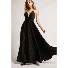 Forever21 Satin Plunging Maxi Dress (£43) ❤ liked on Polyvore featuring dresses, black, spaghetti-strap maxi dresses, ruched maxi dress, v neck cami, strappy cami and strappy maxi dress