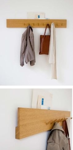 Portmanteau Coat Rack. Like the built in mail holder idea