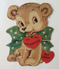 Vintage Fold Up Bear Valentine Greeting Card