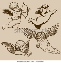 Find Set Various Angels Cupids Isolated stock images in HD and millions of other royalty-free stock photos, illustrations and vectors in the Shutterstock collection. Thousands of new, high-quality pictures added every day. Cupid Drawing, Angel Drawing, Tattoo Drawings, Body Art Tattoos, Small Tattoos, Tattoo Skin, Tatoos, Tattoo Hand, Baby Engel Tattoo