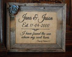 Vintage Rustic Barnwood Framed Burlap Personalized Wedding Art, Rusty/Zinc Metal Flower, Inspirational Verse, Charming for Newlywed Couple on Etsy, $45.00