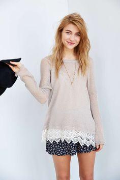 Staring At Stars Crochet-Trim Sweater