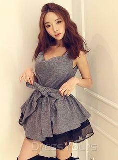 $ 22.27 Lovely Korean Style Split Joint Bubble Dress