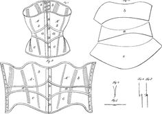 Corset patent pattern diagram, 1867.