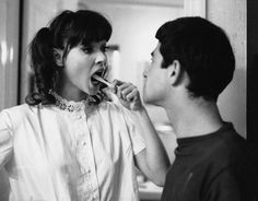 www.kaufvintage.com  best scene from une femme est une femme. insults mid tooth brushing