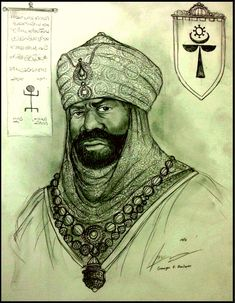 A Sketch of King Bulu Kanembu of the fictional Njimi empire based on the legacy of Mali, Kanem-Bornu and Hausa City States in the Middle ages of Africa. Mai Bulu Kanembu of Njimi Empire Native American Images, African American Art, Native American Indians, Black History Facts, Art History, Tribal Warrior, Black Royalty, African Royalty, Warrior King